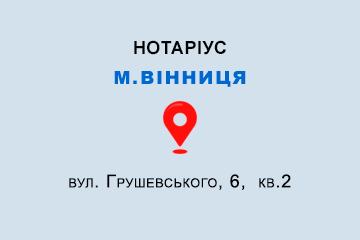 Вінницька обл., м. Вінниця, 21100, вул. Грушевського, 6, кв.2