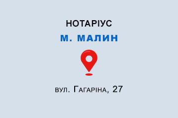 Гальченко Тетяна Георгіївна Житомирська обл., м. Малин, 11602, вул. Гагаріна, 27