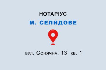 Петрова Оксана Миколаївна Донецька обл., м. Селидове, 85400, вул. Сонячна, 13, кв. 1