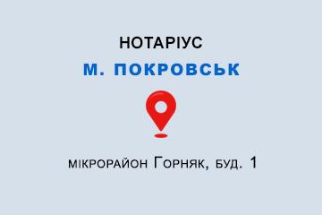 Руденко Наталія Сергіївна Донецька обл., м. Покровськ, 85302, мікрорайон Горняк, буд. 1