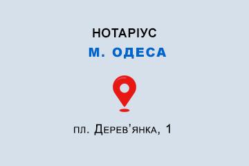 Ставнійчук Аліна Олександрівна Одеська обл., м. Одеса, 65076, пл. Дерев'янка, 1