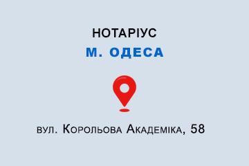 Степанова Інесса Анатоліївна Одеська обл., м. Одеса, 65104, вул. Корольова Академіка, 58