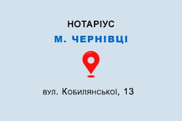 Мисюк Ольга Михайлівна Чернівецька обл., м. Чернівці, 58002, вул. Кобилянської, 13
